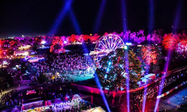 Aerial photo of Bonnaroo Music & Arts Festival at the farm
