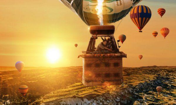 Ben Bohmer sunrise set in hot air balloon sprawling mountain landscapes